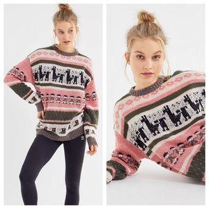NWT UO Llama Knit Slouchy Sweater